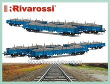 HR6238 3-unit set flat wagons, type Remms of NACCO, loaded with ballast